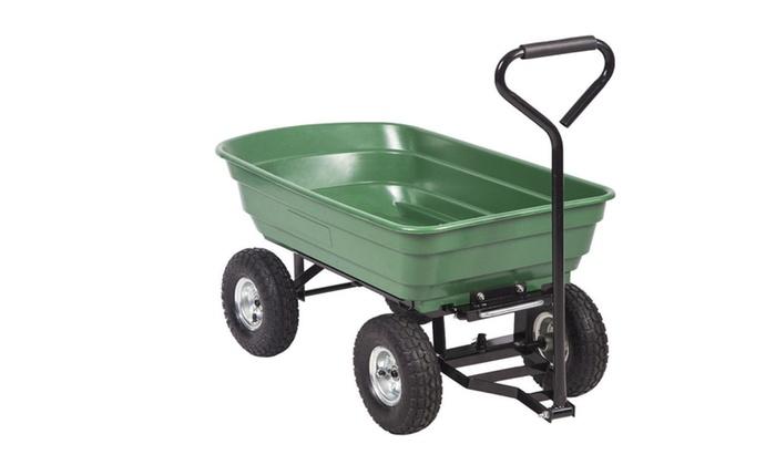 Bon Heavy Duty Poly Garden Utility Yard Dump Cart Garden Cart Wheel Barrow
