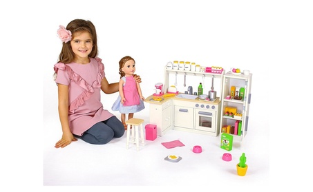 Eimmie 18 Inch Doll Kitchen Set w/ Refrigerator and Accessories 284951c0-91b4-4e9c-b0a3-6c0a3baab0a0