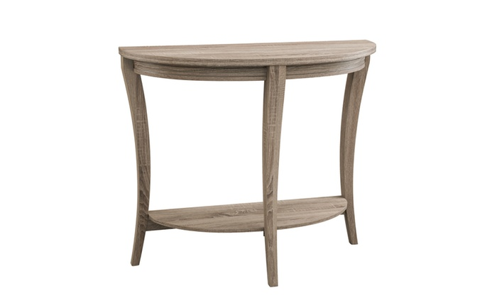 Foyer Table Macy S : Daluna light oak half circle open shelf entryway table