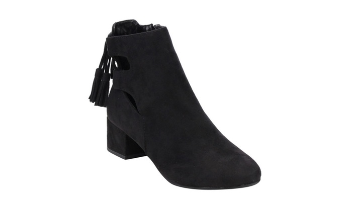 Beston IB84 Women's Cut Out Lace Up Mid Block Heel Ankle Bootie