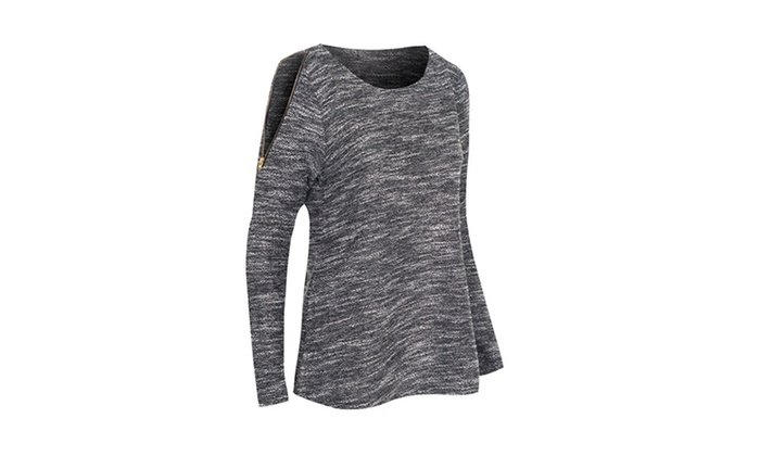 Women's Round Neck Long Sleeve Pullover Top w/ Shoulder Zippers TC5763