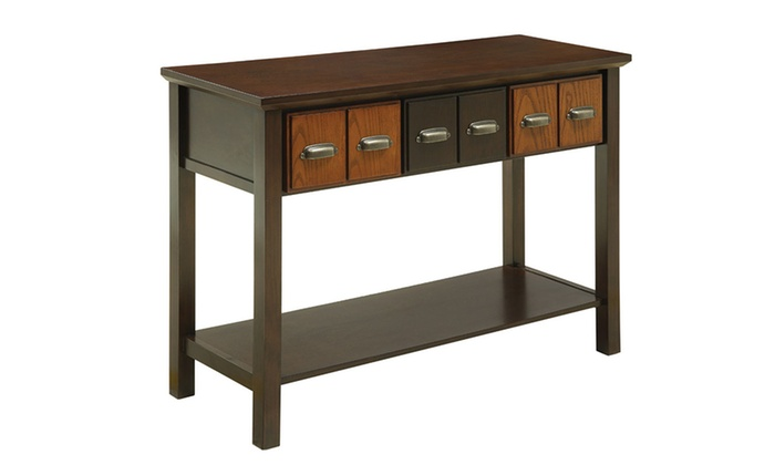 Foyer Table Jcpenney : Caster walnut and oak vintage hallway console table groupon