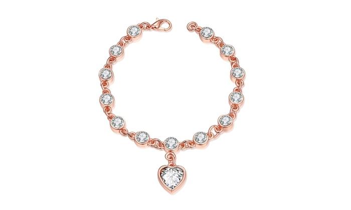 14k Rose Gold Plated Multi Swarovski Heart Shaped Bracelet
