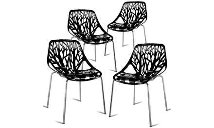 Set of 4 Dining Chair Birch Sapling Accent Armless Side Chairs Stackable Black