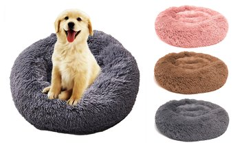 Fluffy Round Sleeping Bed For Pet Dog Cat Cozy Kitty Teddy Kennel