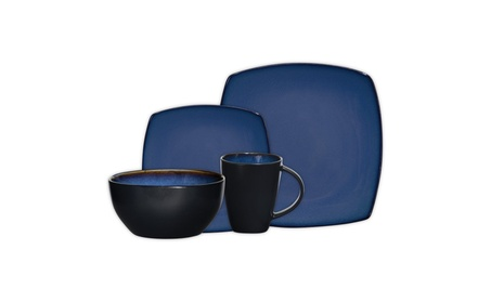 Gibson Soho Lounge 16-Piece Square Reactive Glaze Dinnerware Set, Blue photo