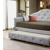 Cindy Fabric Nailheads Trimmed Sofa Twin Daybed with roll-out Trundle Guest Bed