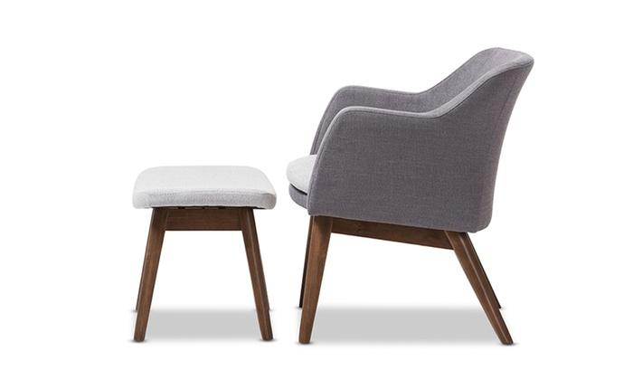 Awe Inspiring Vera Two Tone Grey Fabric Lounge Chair And Ottoman Set Groupon Machost Co Dining Chair Design Ideas Machostcouk