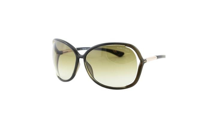 482415fd5af Tom Ford Raquel FT0076 Women Gradient Olive Green T Logo Sunglasses ...