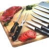 10 Piece deluxe kitchen knife set with natural wood cutting board