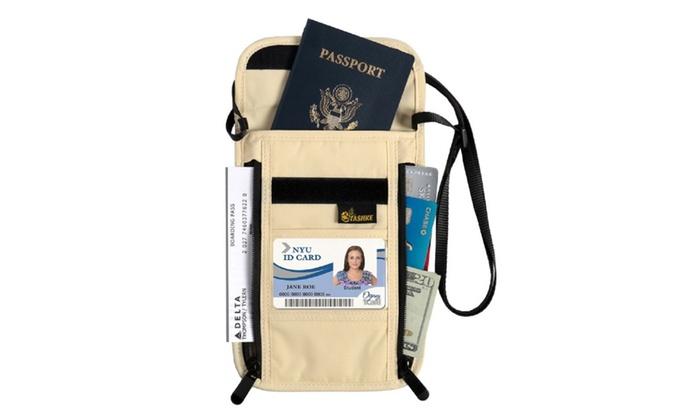 Tashke Rfid Blocking Neck Wallet Passport & ID Card Travel Neck Wallet