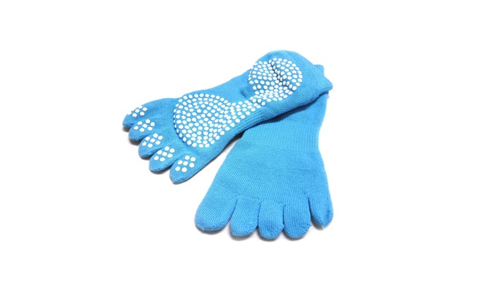 Yoga Socks-5-Toe Design, Blue, Non-Slip Yoga Socks