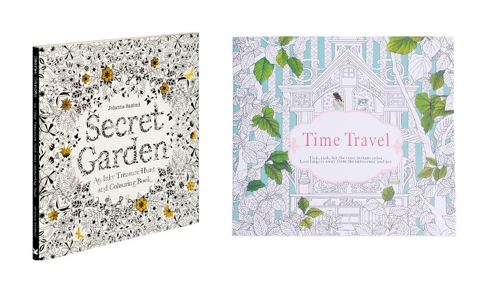 Adult Coloring Book Secret Garden Time Travel 2 Pack