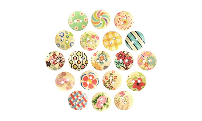 100 Mixed Multicolor 2 Holes Wood Sewing Buttons