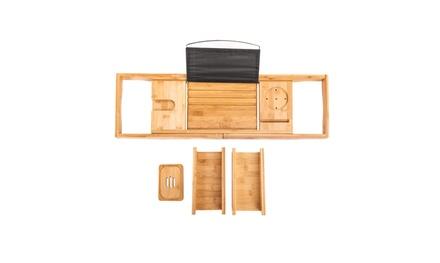 Bamboo Bathtub Tray Caddy Wooden Bath Tray Table Wine Glass Holder Bathtub Rack
