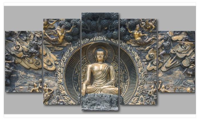 Marvelous Five Panel Buddha Mural Canvas Wall Art 60W X 32H Groupon Download Free Architecture Designs Boapuretrmadebymaigaardcom