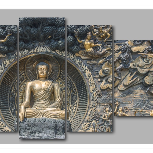 Awesome Five Panel Buddha Mural Canvas Wall Art 60W X 32H Home Interior And Landscaping Eliaenasavecom