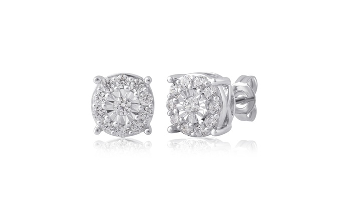 3 4 Cttw Diamond Miracle Plate Stud Earrings In Sterling Silver