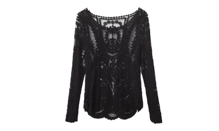 Semi Sheer Sleeve Embroidery Floral Lace Crochet T-Shirt Top Blouse