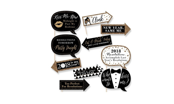 Funny New Year Eve Gold 2018 Photo Booth Props 10 Count | Groupon