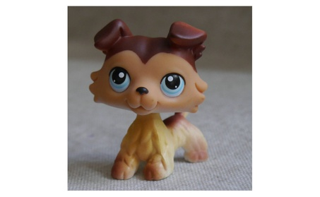 Littlest Pet Shop Brown Collie Dog Puppy Blue Eyes mini Action Figure 57436840-5090-4056-bfdd-6c5e02b2dcea