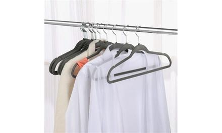 4 Colors 100x Velvet Clothes Hangers Flocked Suit Hook Non Slip