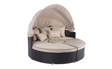 Belleze 5-pc Outdoor Daybed Sectional Round Retractable Canopy Rattan 501df121-9f51-4829-9000-7226209db3bb