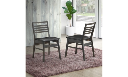 Set of 2 Dining Side Chairs Armless PU Leather Upholstered Seat Wooden Leg