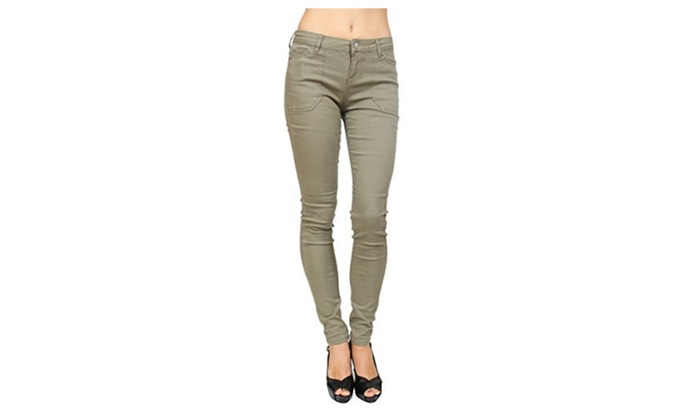 Celebrity Pink Khaki Skinny Jeans with Pork Chop PocketCJ22105D28DUSKY