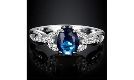 Gemstone Sapphire Diamond 925 Sterling Silver Bride Wedding Engagement Ring