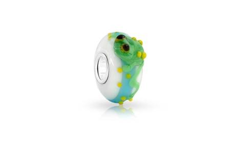 Bling Jewelry 925 Silver White Murano Glass Green Frog Animal Bead 57482ad0-bb1e-4490-ac83-0b1951b1b06c