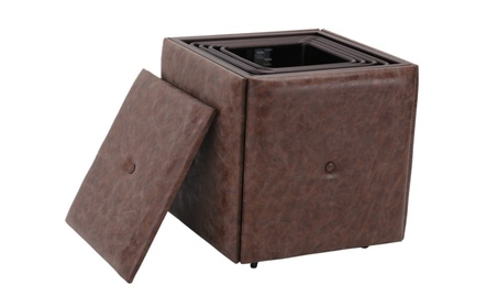 5-Piece Nesting Ottoman Stool Set Faux Leather Cover Convertible Foots 3f7327b8-625a-46ce-be7f-c4705391e6ff