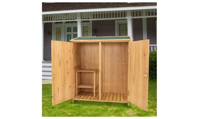 ... Kinbor Wooden Garden Shed Outdoor Tool Storage Double Door U0026 Chair ...