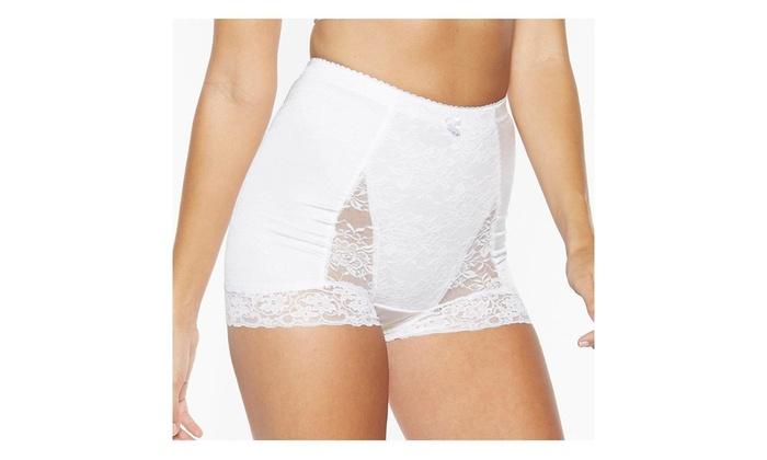 Rhonda Shear size S Black 3867B Shapewear Pin Up Floral Lace Control Panty Brief