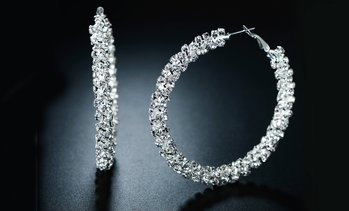 Double-Row Hoop Earrings in Swarovski Crystal