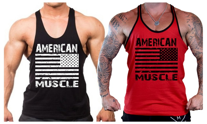 Men's American Muscle US Flag Workout Stringer Tank Top