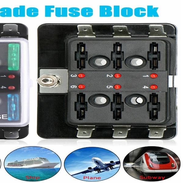 6 Way Fuse Holder Box Car Vehicle Circuit Blade Fuse Box Block LED Indicators ne