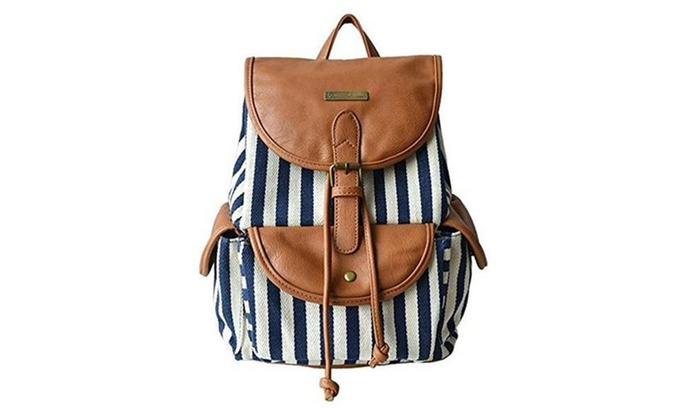 Vintage Ladies High Quality Canvas Stripes Shoulders Bag Backpacks - Blue / Medium