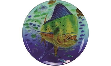 Rivers Edge Guy Harvey 15in Dorado Glass Platter 1be4c478-e703-4fa4-b496-25c555a1c853