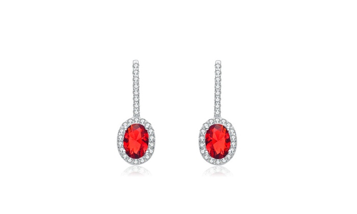 Sterling Silver Genuine Red Cubic Zirconia Earrings