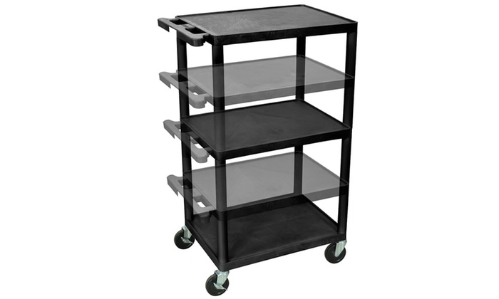 Luxor 18 In X 24 In Shelves Multi Height LP Cart No Electric Black