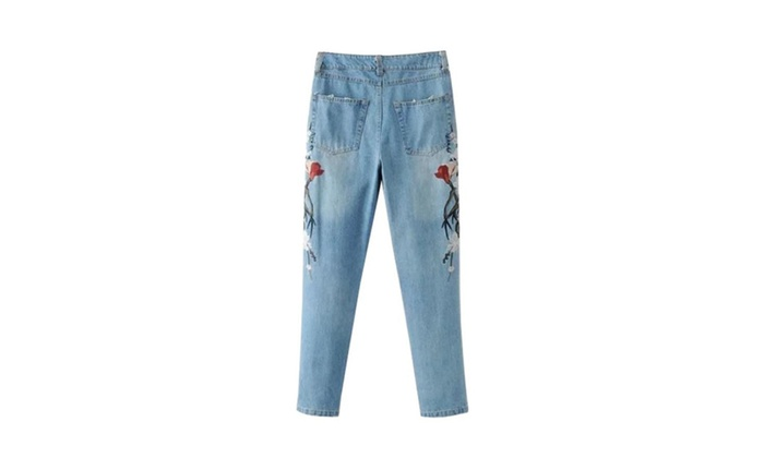 Yiqin: Women's Embroidered Flowers Embellished Straight leg Jeans