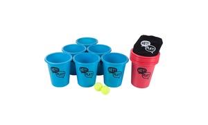 Bucket Toss Giant Beer Pong Outdoor Game Set with 12 Buckets, 2 Balls, Tote Bag