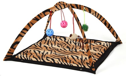 Pyrus Padded Bed Play Center with Hanging Toy Balls & Mice for Cats - New