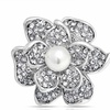Bling Jewelry Crystal Rose Flower Mothers Love Pin Round White Pearl