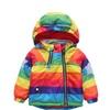 Unisex Kids Baby Rainbow Striped Jacket Hoodie Coat Fleece Outwear