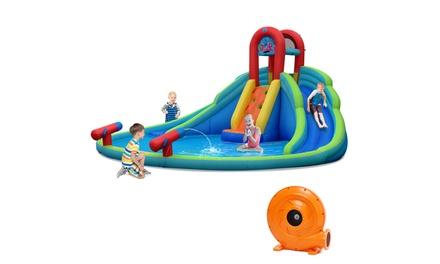 Inflatable Bounce House Water Splash Pool Dual Slide Climbing Wall w/780W Blower
