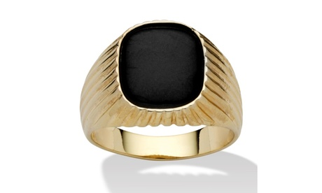 Men's Genuine Onyx 14k Yellow Gold-Plated Ribbed Ring 0682f459-7ba8-4c62-8120-ce3c2a73853e