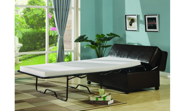Awe Inspiring Fold Out Ottoman Sleeper Bed With Mattress Groupon Gmtry Best Dining Table And Chair Ideas Images Gmtryco