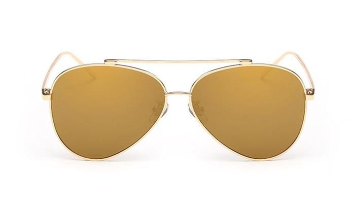 Unisex Style Mirrored Aviator Sunglasses Metal Frame Resin Lens